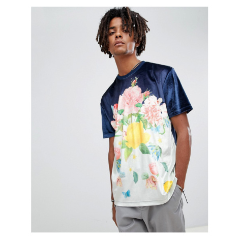ASOS DESIGN relaxed t-shirt in velour with floral print