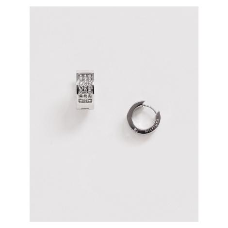 Tommy Hilfiger pave huggie earrings in silver