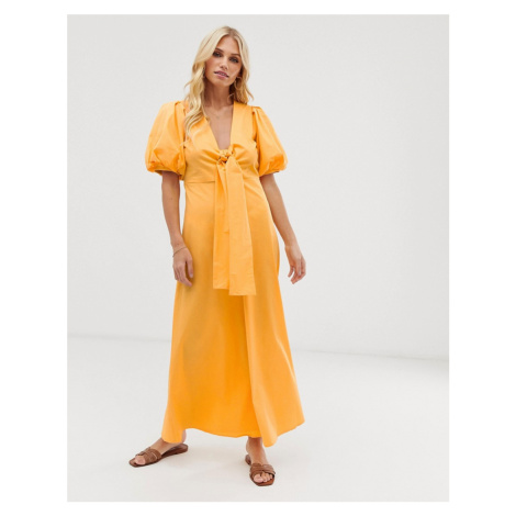 Y.A.S Cotton Volume Sleeve Tie Front Midi Dress in Marigold