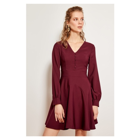 Trendyol Plum Plated Button Detailed Dress