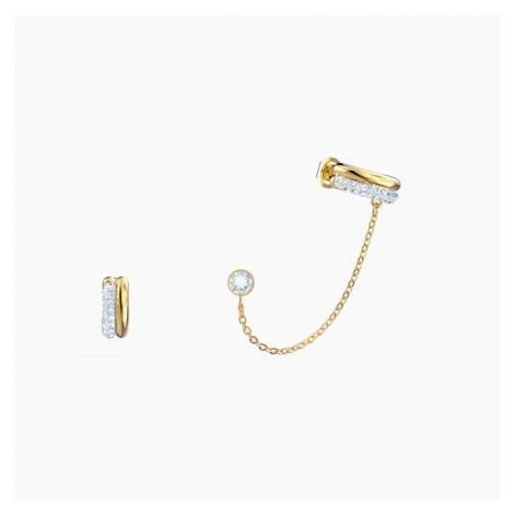 Kolczyki sztyftowe z nausznicami Time, białe, różnobarwne metale Swarovski