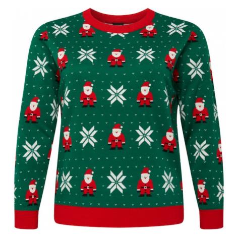 Urban Classics Sweter zielony / biały / czerwony