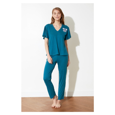 Trendyol Oil Koala Print knitted pyjama set