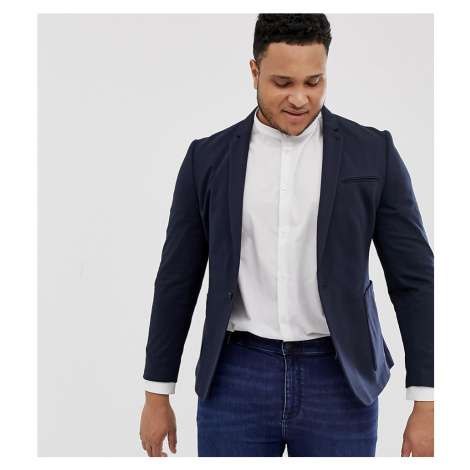 ASOS DESIGN Plus super skinny blazer in navy jersey