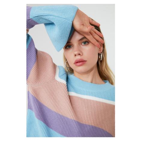 Trendyol Blue Block Knit Sweater