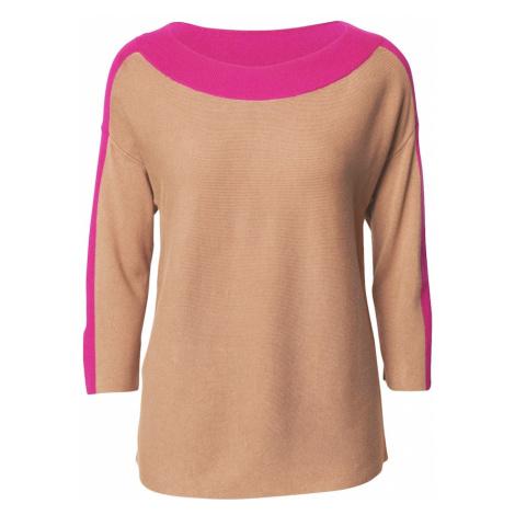 COMMA Sweter brązowy / różowy
