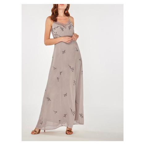 Jasnofioletowa sukienka maxi z haftem i koronką Dorothy Perkins