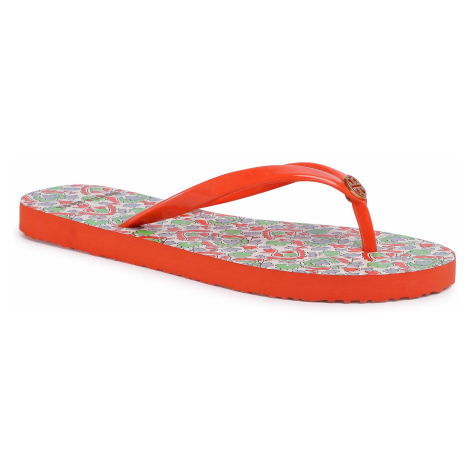 Japonki TORY BURCH - Thin Flip Flop 56488 Poppy Red/Legacy Paisley 605