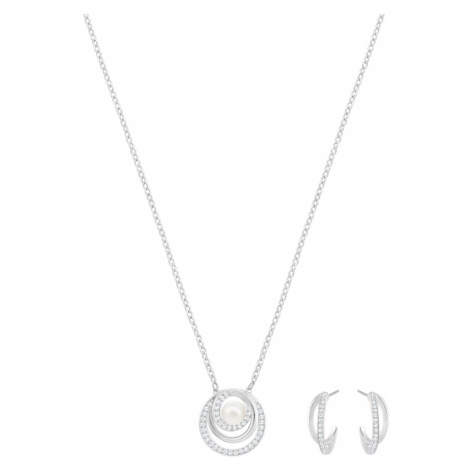 Free Pearl Set, White, Rhodium plated Swarovski