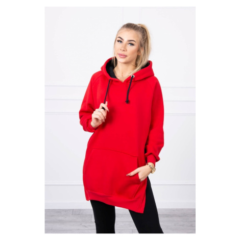 Dwukolorowa sukienka z kapturem czerwona