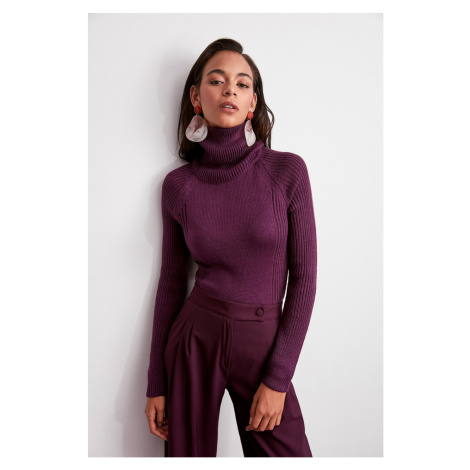 Trendyol Purple Turtle Neck Basic Knitwear Sweater
