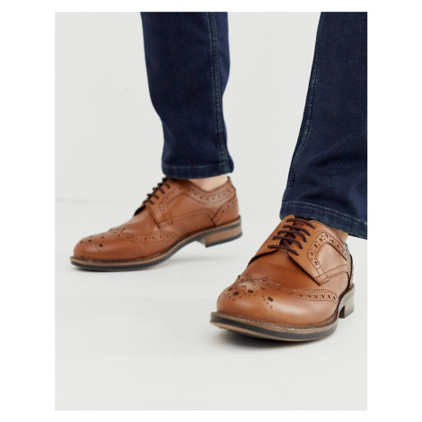 Redfoot leather chunky brogue shoe in tan