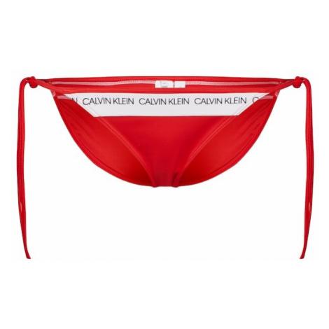 Calvin Klein Swimwear Dół bikini 'Side Tie' jasnoczerwony / biały