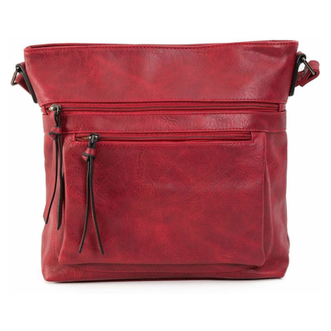Dark red bag on a long strap